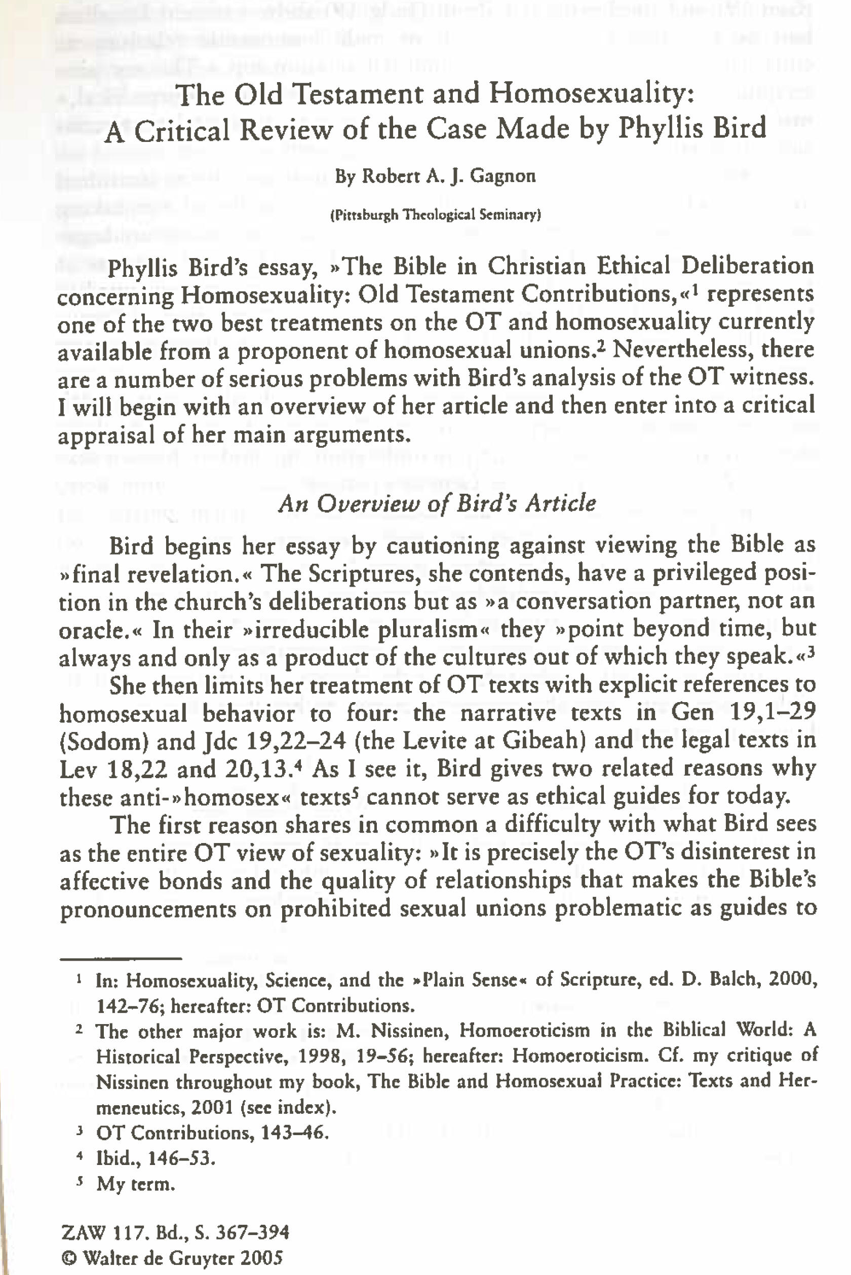 articles available online the old testament and homosexuality